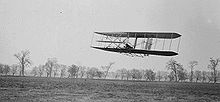 Aviation History - The Wright Brothers - Orville in flight over Huffman Prairie in Wright Flyer II. Flight #85, approximately 1,760 feet (536 m) in 40 1/5 seconds, November 16, 1904.