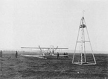 Aviation History - The Wright Brothers - Wright Model A Flyer flown by Wilbur 1908-1909 and launching derrick, France, 1909