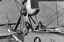 Aviation History - Maurice Duval and Emile Tadd�oli in a Savoia S-13 (CH-4) on Lake Geneva