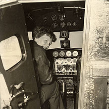 Aviation History - Earhart in the Electra cockpit, c. 1936