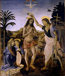 Leonardo da Vinci - The Baptism of Christ (1472-1475)-Uffizi, by Verrocchio and Leonardo