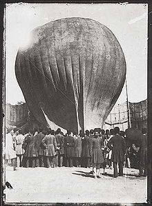 Aviation History - Hot Air Balloon - Balloon landing in Mashgh square, Iran (Persia), at the time of Nasser al-Din Shah Qajar, around 1850.