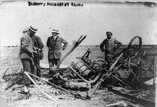 Aviation History - Wreckage of one of Bl�riot's planes, Reims Air Meet, August 1909.