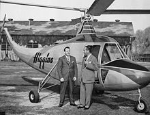 Aviation History - Enea Bossi, Sr. - Enea Bossi and son Charles alongside the Higgins EB-1 helicopter