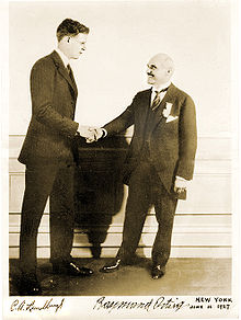 Aviation History - Charles Lindbergh (left) accepted his prize from Raymond Orteig (right) in New York on June 14, 1927