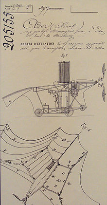 Aviation History - Ader Eole - Clement Ader's Avion French patent 205155, 19 April 1890.