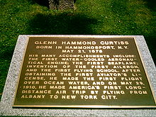 Aviation History - Glenn Curtiss - Commemorative plaque; claim on the plaque is controversial regarding invention of the aileron.