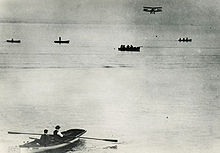 Aviation History - Dufaux 4 biplane piloted by Armand Dufaux over Lake Geneva, August 28, 1910