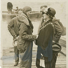 Aviation History - Amelia Earhart being greeted by Mrs. Foster Welch, Mayor of Southampton, June 20, 1928