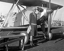 Aviation History - Amelia Earhart, Los Angeles, 1928 X5665 - 1926 'CIT-9 Safety Plane' - California Institute of Technology (CalTech) Aerospace model 9 Merrill-type biplane designed by Albert Adams Merrill (Instructor in Aeronautics); 45hp Kinner engine; wingspan: 24'.