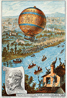 Aviation History - Jean-Francois Pilatre de Rozier - The first untethered balloon flight, by Rozier and the Marquis d'Arlandes on 21 November 1783.