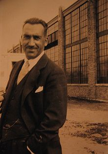 Aviation History - Enea Bossi, Sr. - Bossi in front of the AAC factory in Port Washington, New York