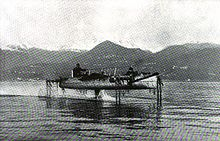 Aviation History - Enrico Forlanini - Forlanini hydrofoil on Lake Maggiore circa 1911