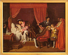Leonardo da Vinci - Francis I of France receiving the last breath of Leonardo da Vinci, by Ingres, 1818