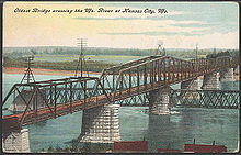 Aviation History - Octave Chanute - Hannibal Bridge from 1908 postcard