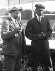 Aviation History - The Wright Brothers - Hart O. Berg (left), the Wrights' business agent, and Wilbur at the flying field near Le Mans.
