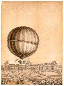Airplane Picture - Contemporary illustration of the first flight by Prof. Jacques Charles with Nicolas-Louis Robert, December 1, 1783. Viewed from the Place de la Concorde to the Tuileries Palace (destroyed in 1871)