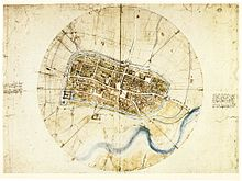 Leonardo da Vinci - Leonardo da Vinci's very accurate map of Imola, created for Cesare Borgia