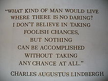 Aviation History - A wall-mounted quote by Charles Augustus Lindbergh in The American Adventure in the World Showcase pavilion of Walt Disney World's Epcot