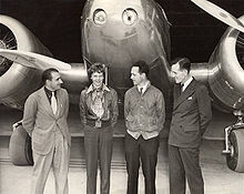 Aviation History - L-R, Paul Mantz, Amelia Earhart, Harry Manning and Fred Noonan, Oakland, California, March 17, 1937