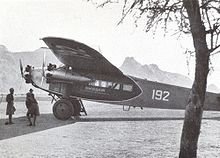 Airplane Picture - Swissair Fokker F.VIIb-3 m (CH-192) piloted by Walter Mittelholzer in Kassala (Sudan), February 1934.