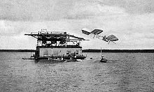 Aviation History - Samuel Pierpont Langley - First failure of the manned Aerodrome, Potomac River, Oct. 7, 1903