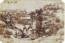 Leonardo da Vinci - Leonardo's earliest known drawing, the Arno Valley, (1473) - Uffizi