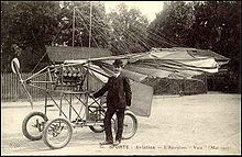 Aviation History - Traian Vuia - A postcard with Vuia and his 1907 airplane Vuia II