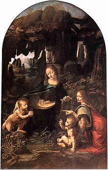 Leonardo da Vinci - Virgin of the Rocks, Louvre, possibly 1505-1508, demonstrates Leonardo's interest in nature.