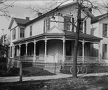 Aviation History - The Wright Brothers - Wright brothers' home at 7 Hawthorn Street, Dayton about 1900. Wilbur and Orville built the covered wrap-around porch in the 1890s.
