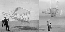Aviation History - The Wright Brothers - A Big Improvement At left, 1901 glider flown by Wilbur (left) and Orville. At right, 1902 glider flown by Wilbur (right) and Dan Tate, their helper. Dramatic improvement in performance is apparent. The 1901 glider flies at a steep angle of attack due to poor lift and high drag. In contrast, the 1902 glider flies at a much flatter angle and holds up its tether lines almost vertically, clearly demonstrating a much better lift-to-drag ratio.