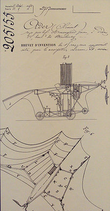 Aviation History - Cl�ment Ader - Clement Ader's Eole French patent 205155, 19 April 1890.