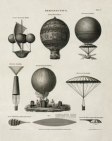 Aviation History - Hot Air Balloon - This 1818 technical illustration shows early balloon designs.