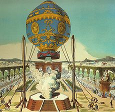 Aviation History - Hot Air Balloon - The first manned hot-air balloon, designed by the Montgolfier brothers, takes off from the Bois de Boulogne, Paris, on November 21, 1783
