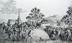 Aviation History - Hot Air Balloon - The balloon built by Jacques Charles and the Robert brothers is attacked by terrified villagers in Gonesse.