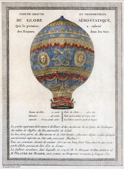 Aviation History - Montgolfier brothers - A 1786 depiction of the Montgolfier brothers' historic balloon with engineering data. Details are available in translation on the image hosting page.