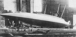 Aviation History - Arthur Constantin Krebs - The Gymnote submarine in 1888. Arthur Krebs holds the airing mast. The periscope is visible