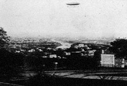 Aviation History - The astronomer Jules Janssen took this photo of the French officers' Charles Renard and Arthur Krebs La France dirigible from his Meudon (France) astrophysic observatory in 1885.