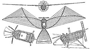 Aviation History - Felix du Temple de la Croix - 1857 patent drawing of F�lix du Temple's flying machine, the