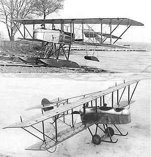 Aviation History - Alfred V. Verville - Verville's 2nd and 3rd Plane in 1915 while at General Aeroplane Company, Top: Gamma S, Two-blade prop and twin floats, Bottom: Gamma L, Wheeled with four-blade prop