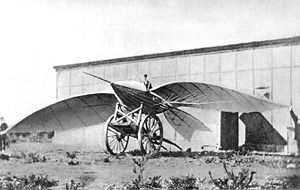 Aviation History - Jean-Marie Le Bris - Le Bris and his flying machine, Albatros II, photographed by Nadar, 1868.