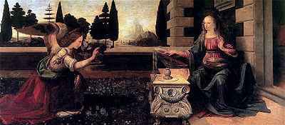 Leonardo da Vinci - Annunciation (1475-1480)-Uffizi, is thought to be Leonardo's earliest complete work.