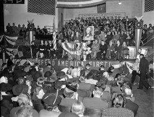 Aviation History - Charles Lindbergh speaking at an AFC rally