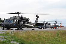 Helicopter Picture - Army National Guard UH-60 Black Hawk with snow-ski kit