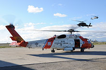 Helicopter Picture - MH-60 Jayhawk (USCG Registration Number 6014) on tarmac in Kotzebue, Alaska