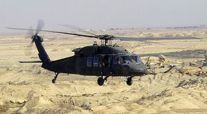 Helicopter Picture - A UH-60L Black Hawk flies a low-level mission over Iraq in 2004.