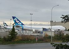 Airplane Picture - The first 747-8 Freighter at the fuel dock of Boeing Everett Plant, November 23, 2009