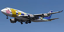 Airplane Picture - An All Nippon Airways 747-400, decorated with images of different Pok�mon.