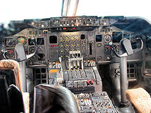 Airplane Picture - An early-production 747 cockpit, located on the upper deck