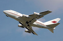 Airplane Picture - Bahrain Royal Flight 747SP climbing with landing gear not yet fully retracted